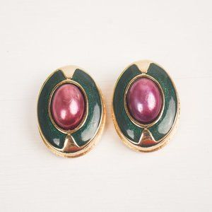 Vintage Egyptian Revival Gold and Green Earrings